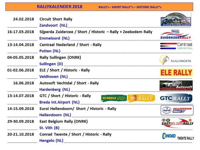 Rally kalender 2018