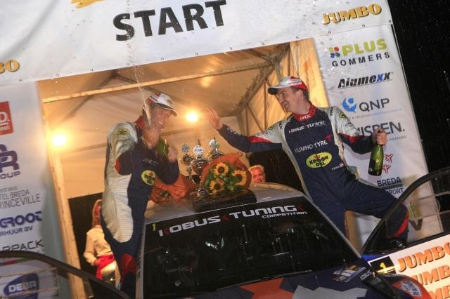 Eurol R5 Rally Challenge GTC Rally 2018 Hermen Kobus en Erik de Wild vieren de overwinning