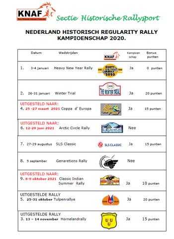 Kalender Nederlands Kampioenschap Historische Rally