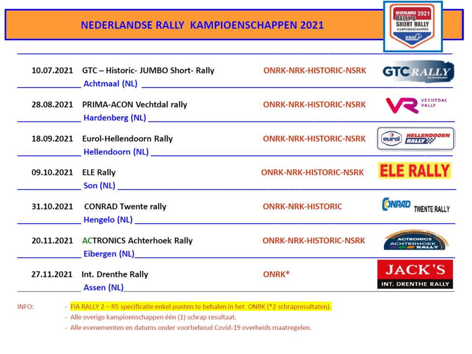2021 BSR NK Rally kalender